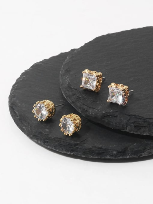 TINGS Brass Cubic Zirconia Geometric Minimalist Stud Earring