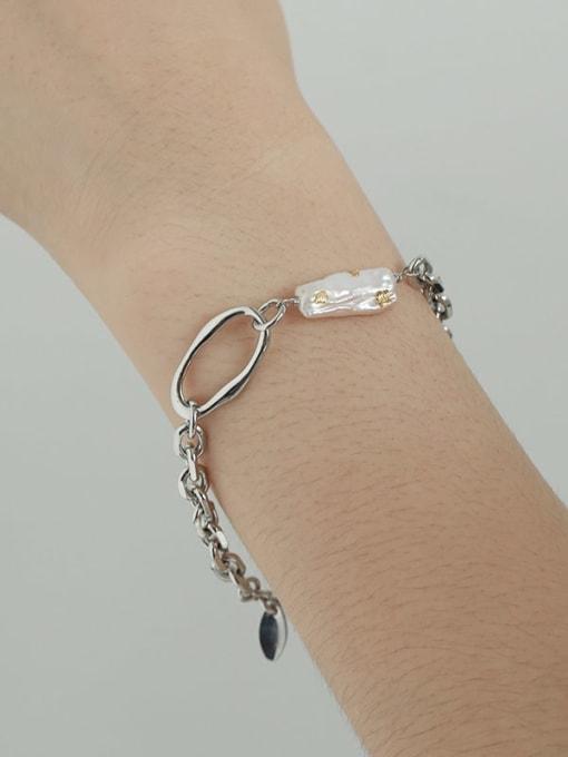 TINGS Brass Freshwater Pearl Irregular Vintage Link Bracelet 2