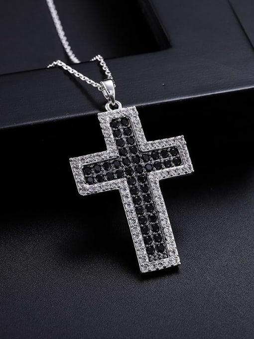 YILLIN Brass Cubic Zirconia Cross Minimalist Regligious Necklace 1