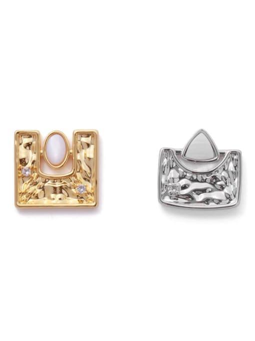 ACCA Brass Shell Geometric Hip Hop Stud Earring 3