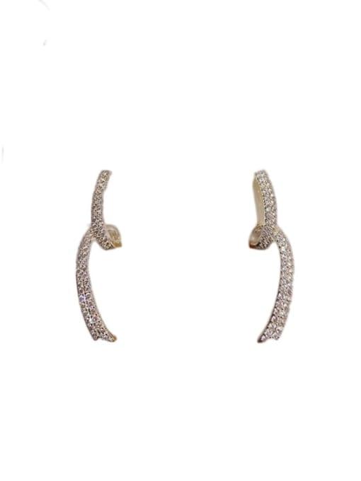 OUOU Brass Cubic Zirconia Irregular Minimalist Stud Earring 0