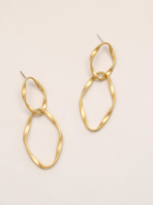 14k Gold Brass Geometric Minimalist Drop Earring