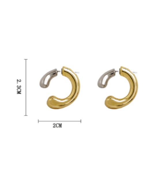 HYACINTH Brass Smooth Geometric Minimalist Stud Earring 3
