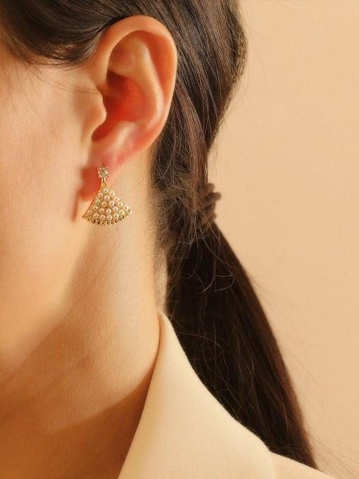 HYACINTH Brass Imitation Pearl Triangle Bohemia Stud Earring 2