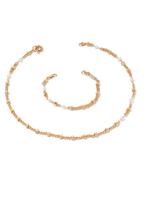 ACCA Brass Imitation Pearl Geometric Hip Hop Necklace