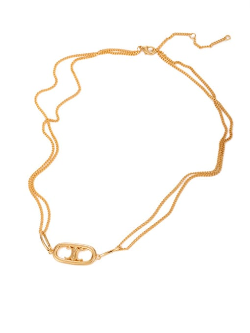 Necklace Brass Geometric Hip Hop Multi Strand Hollow Chain Necklace