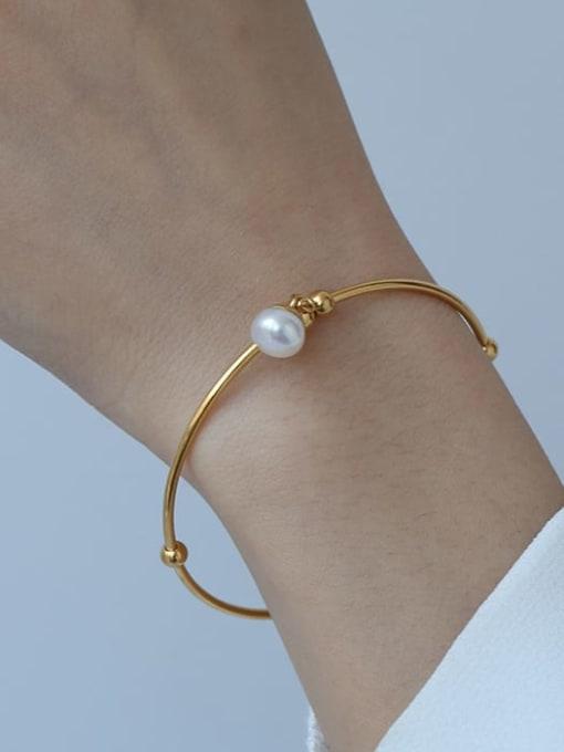 ACCA Brass Imitation Pearl Geometric Minimalist Band Bangle 1