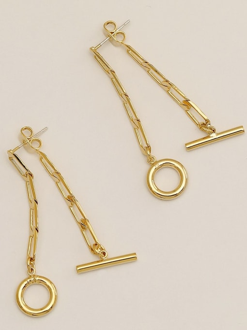 HYACINTH Brass Hollow Geometric  chain Vintage Drop Earring 3