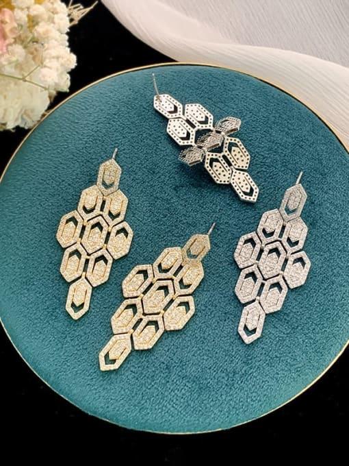 SUUTO Brass Cubic Zirconia Geometric Hip Hop Cluster Earring 1