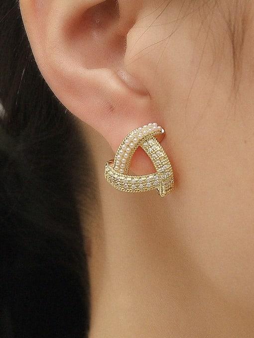 HYACINTH Brass Cubic Zirconia Triangle Minimalist Stud Earring 1