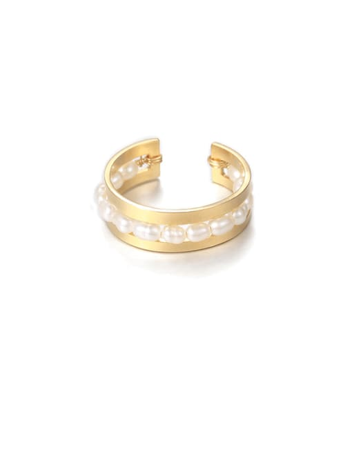 Section 3 Brass Imitation Pearl Geometric Vintage Stackable Ring