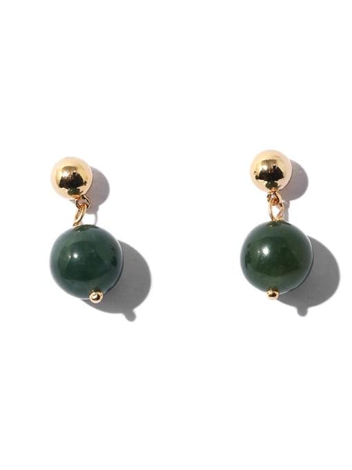 golden Brass Emerald Geometric Ethnic Stud Earring
