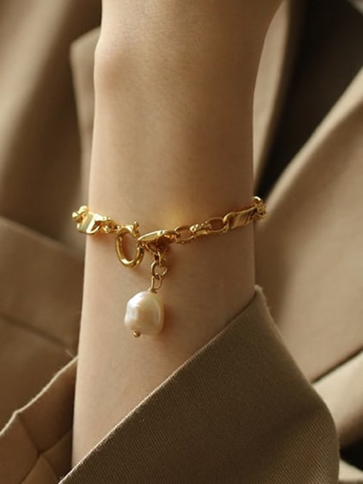 ACCA Brass Freshwater Pearl Geometric Chain Vintage Bracelet 1