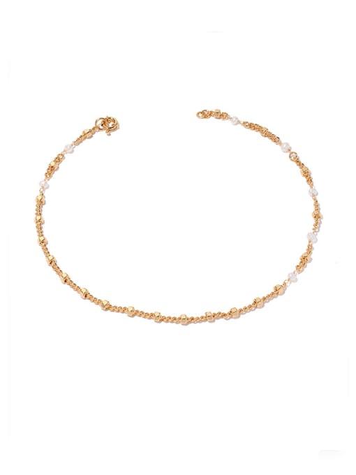 Gold necklace Brass Imitation Pearl Geometric Hip Hop Necklace