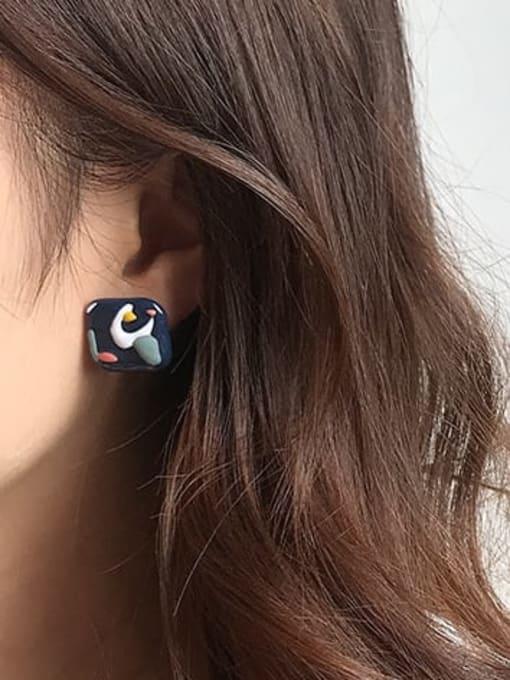 Five Color Alloy Enamel Geometric Ethnic Stud Earring 1