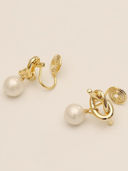 14k gold Brass Imitation Pearl Bowknot Ethnic Clip Earring