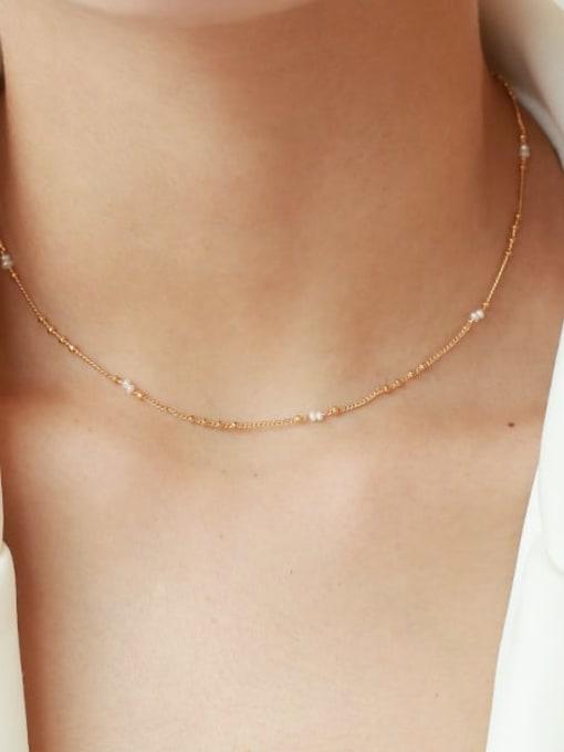 Five Color Brass Minimalist  Line Chain Necklace 1