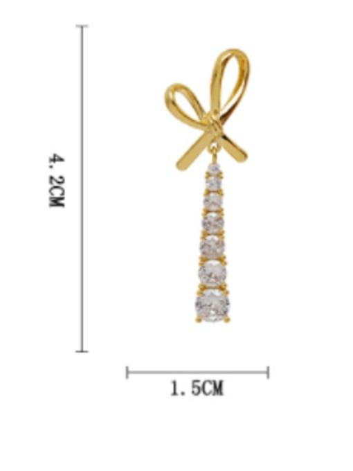 HYACINTH Brass Cubic Zirconia Bowknot Trend Drop Long Earring 3