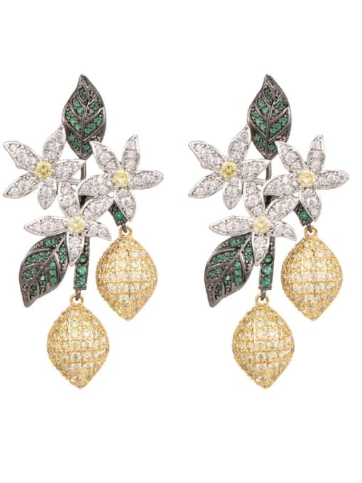 OUOU Brass Cubic Zirconia Flower Statement Cluster Earring