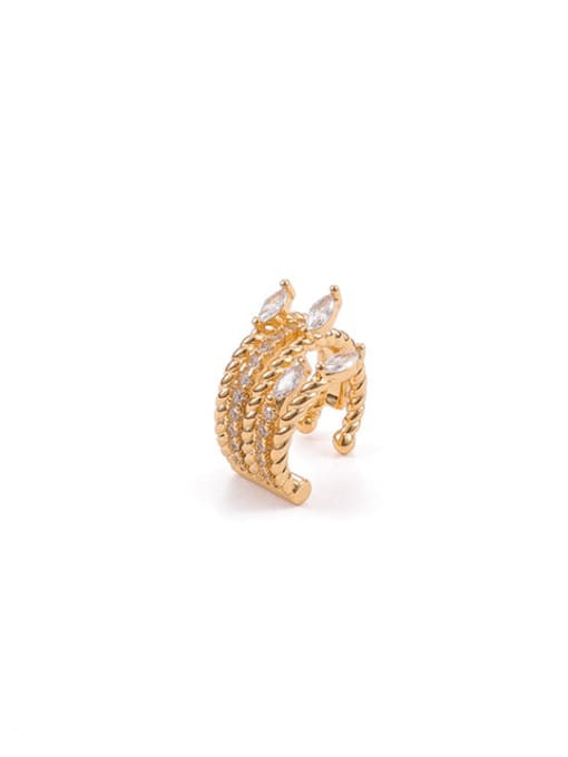 ACCA Brass Cubic Zirconia Geometric Hip Hop Single Earring 0