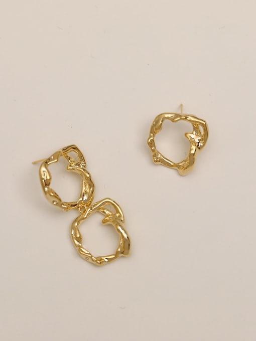 14k Gold Brass Hollow Geometric Vintage Drop Earring
