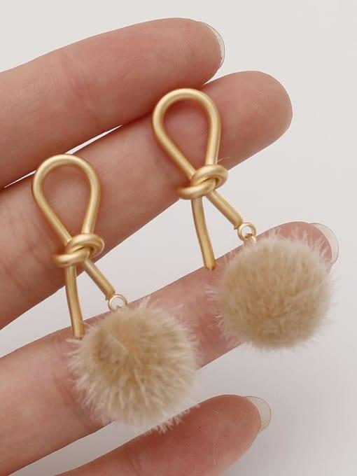 HYACINTH Brass Plush Ball Ethnic knot Drop Earring 1