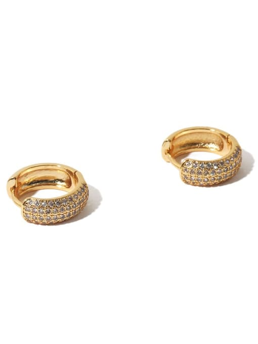 TINGS Brass Cubic Zirconia Geometric Hip Hop Huggie Earring(single) 3