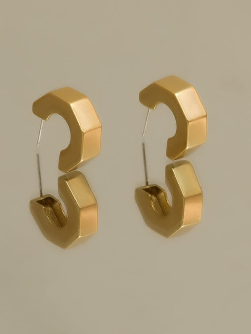 HYACINTH Brass Smooth Irregular Minimalist Stud Earring 3