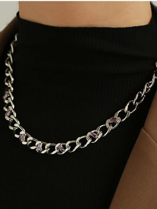 ACCA Brass Hollow Geometric Chain Hip Hop Necklace 1