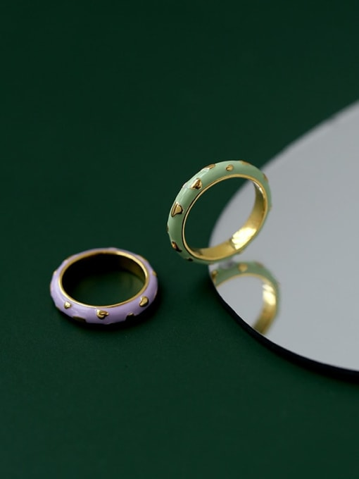 Five Color Brass Enamel Round Minimalist Band Ring 0