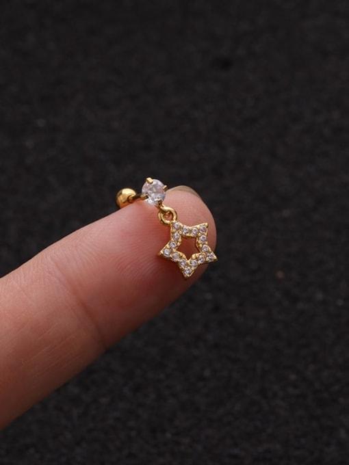 Gold 3#(Single) Brass Cubic Zirconia Geometric Cute Stud Earring