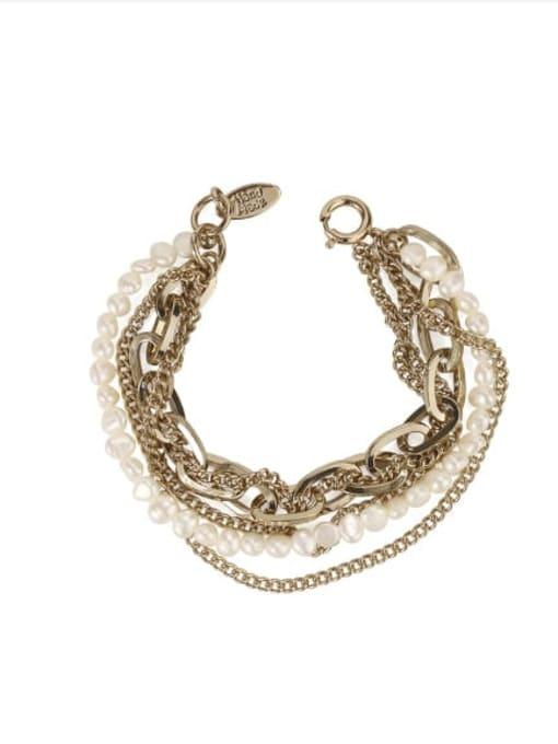 ACCA Brass Freshwater Pearl Geometric Vintage Strand Bracelet