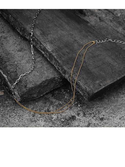 TINGS Brass Geometric Vintage Multi Strand Necklace 3