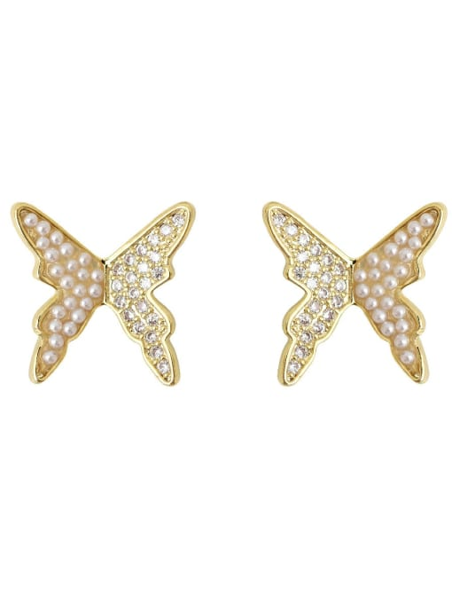 HYACINTH Copper Imitation Pearl Butterfly Vintage Stud Earring 0