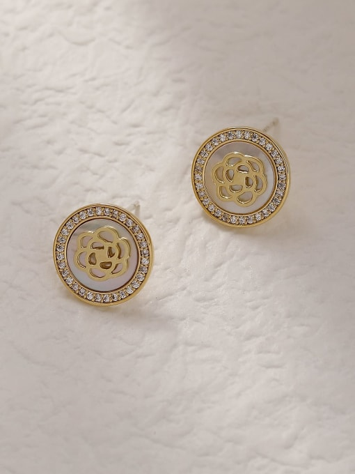 HYACINTH Brass Shell Round Vintage Stud Trend Korean Fashion Earring 0