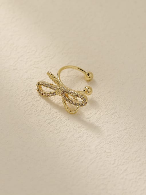14k Gold Brass Cubic Zirconia Bowknot Vintage Clip Earring