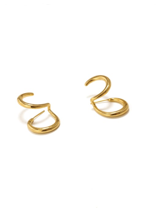 ACCA Brass Smooth Irregular Vintage Stud Earring 3