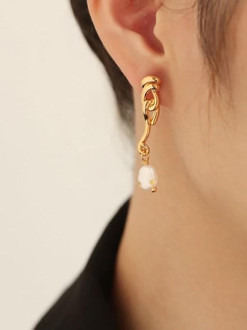 TINGS Brass Imitation Pearl Tassel Hip Hop Drop Earring 2