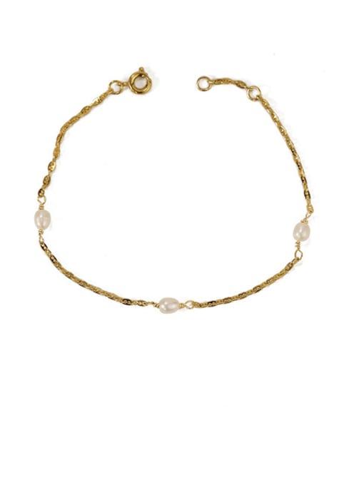 ACCA Brass Freshwater Pearl Irregular Minimalist Link Bracelet 3