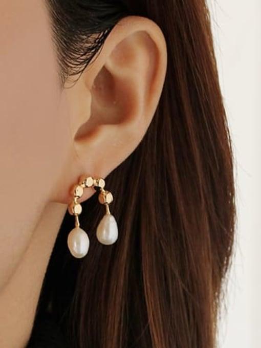 ACCA Brass Imitation Pearl Geometric Vintage Stud Earring 1