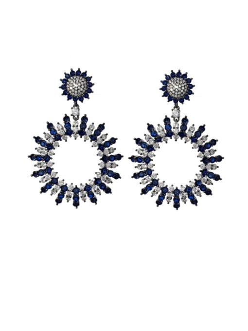 blue Brass Cubic Zirconia Geometric Vintage Drop Earring