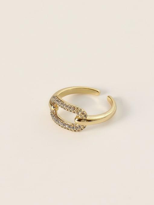 HYACINTH Brass Cubic Zirconia Geometric Minimalist Band Ring 2