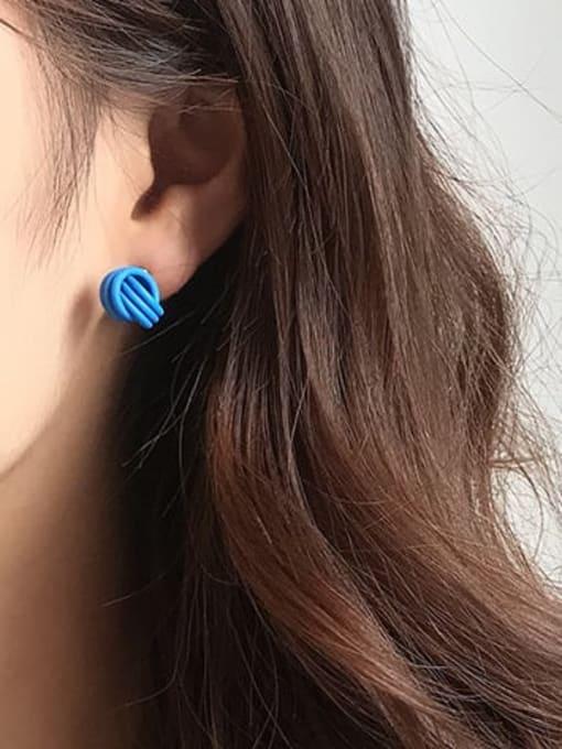 Five Color Brass Enamel Geometric Cute Stud Earring 1