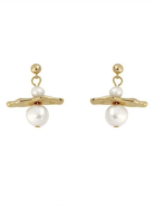 HYACINTH Brass Imitation Pearl Geometric Minimalist Stud Earring 0