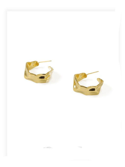 ACCA Brass smooth Irregular Minimalist Stud Earring 0