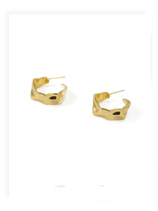 ACCA Brass smooth Irregular Minimalist Stud Earring
