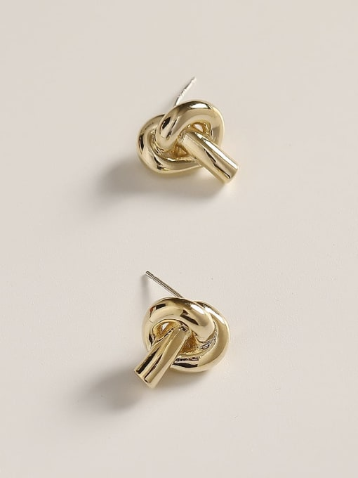 HYACINTH Brass Knot Minimalist Stud Earring 2