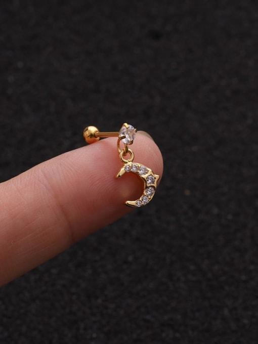 Gold 4#(Single) Brass Cubic Zirconia Geometric Cute Stud Earring