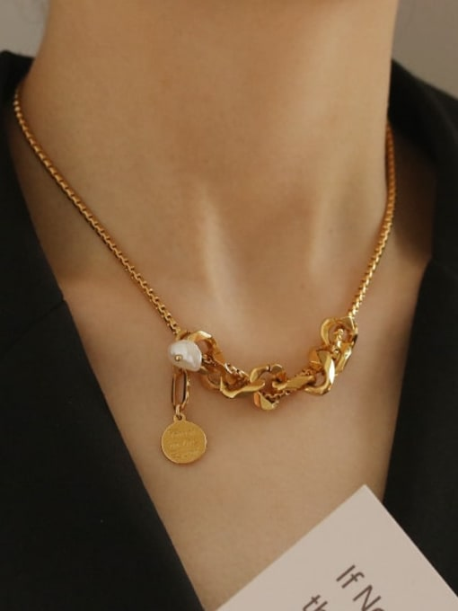 ACCA Brass Freshwater Pearl Locket Vintage Necklace 1