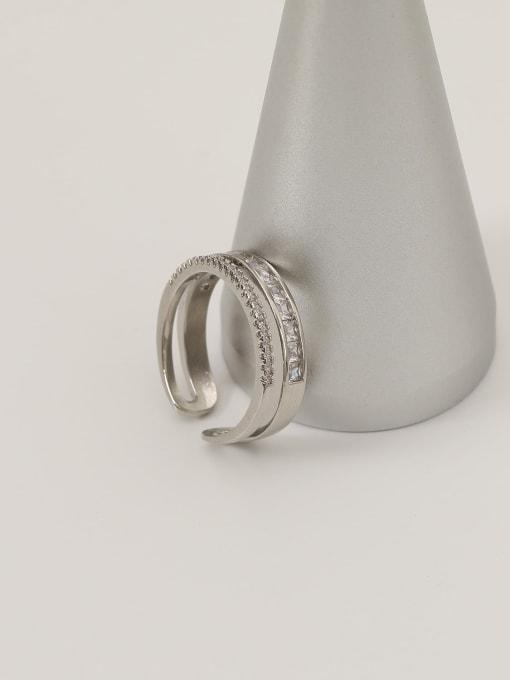 HYACINTH Brass Cubic Zirconia Geometric Minimalist Band Ring 4